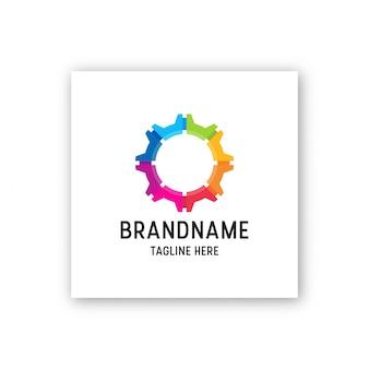 Abstrakcjonistyczna kolorowa przekładnia loga ikony projekta szablonu ilustracja