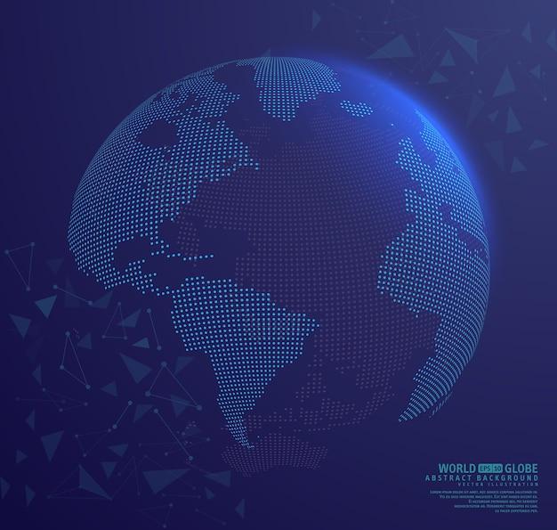 Abstrakcjonistyczna kula ziemska ziemia z łączyć kropki