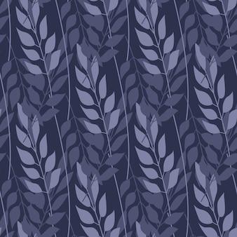 Abstrakcjonistyczna lasowa trawa i gałąź bezszwowy wzór
