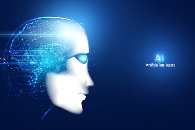 Abstrakcjonistyczna mądrze sztucznej inteligencji cyfrowa futurystyczna technologii twarz z mózg
