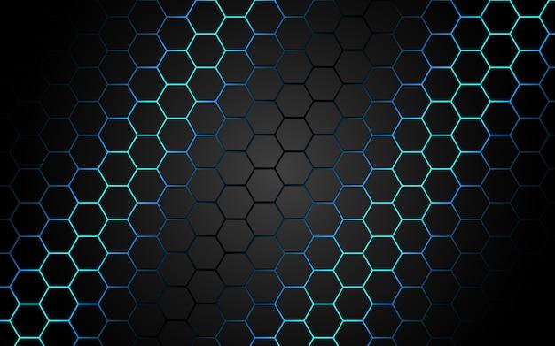 Abstrakcjonistyczna niebieskiego światła sześciokąta linia w szary nowożytny luksusowy futurystyczny.
