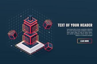 Abstrakcjonistyczna pojęcie gra elementu ikony totem, punkt kontrolny, cyfrowa dane wizualizacja