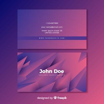 Abstrakcjonistyczna purpurowa gradientowa wizytówka