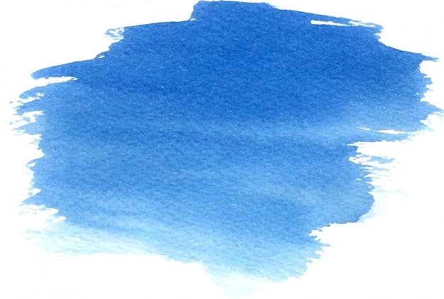 Abstrakcjonistyczna ręka rysujący akwareli plamy błękitny tło