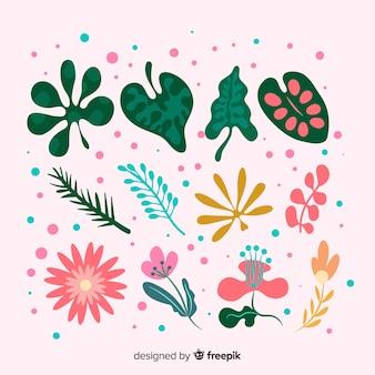 Abstrakcjonistyczna ręka rysujący kwiatu i liścia kolekcja