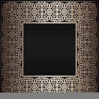 Abstrakcjonistyczna rocznika złota kwadrata rama na czarnym tle ,.