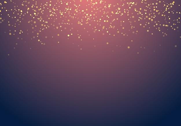 Abstrakcjonistyczna spada złota błyskotliwość zaświeca teksturę na zmroku - błękitny tło z oświetleniem.
