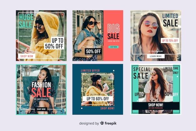 Abstrakcjonistyczna sprzedaży instagram poczta ustawiająca z fotografią