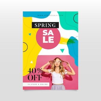 Abstrakcjonistyczna wiosny sprzedaży ulotka z fotografią