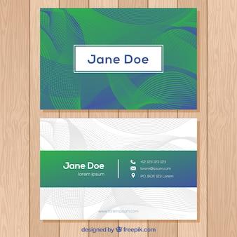 Abstrakcjonistyczna wizytówka w zieleni i błękicie