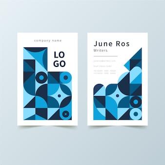 Abstrakcjonistyczna wizytówka z błękitnymi kształtami