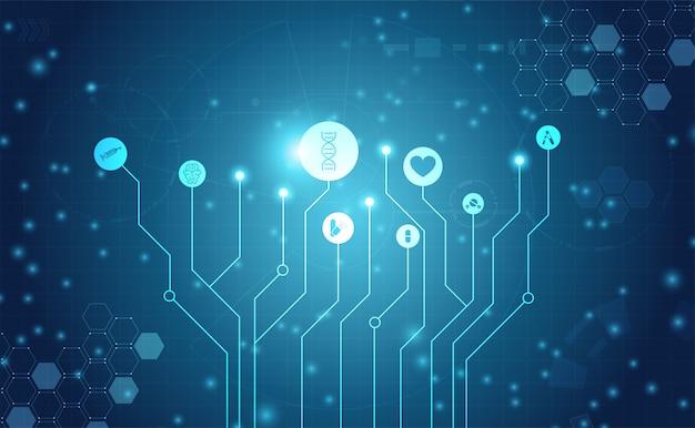 Abstrakcjonistyczna zdrowie nauki medyczne opieki zdrowotnej ikony technologia cyfrowa