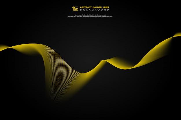 Abstrakcjonistyczna złota linia falisty stylowy dekoraci tło.