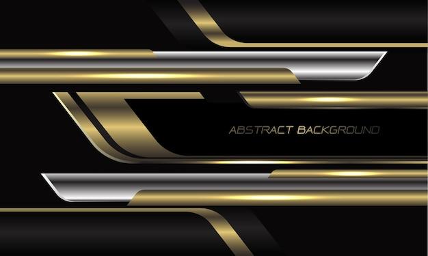 Abstrakcjonistyczna złota srebrna czarna geometryczna prędkość nakładania się na ciemnoszarym tle nowoczesnej futurystycznej technologii
