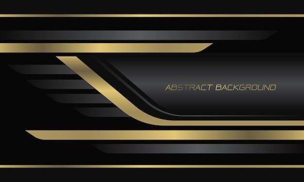 Abstrakcjonistyczna złota szara metaliczna linia geometryczna na czarnym nowoczesnym luksusowym futurystycznym tle