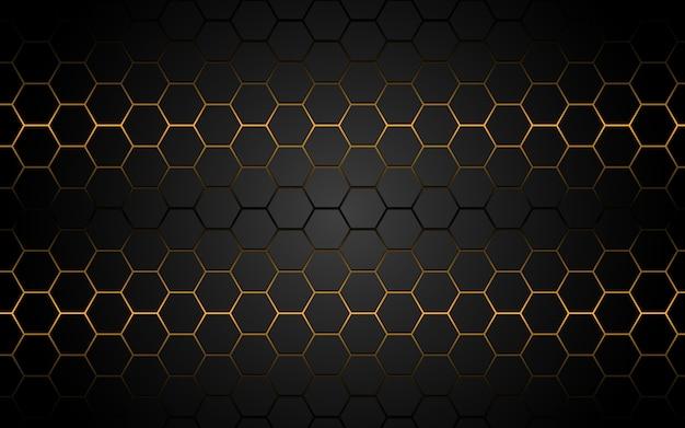 Abstrakcjonistyczna żółtego światła sześciokąta linia w szary nowożytny luksusowy futurystyczny.