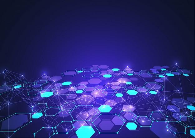 Abstrakcjonistyczne heksagonalne struktury molekularne w technologii tle