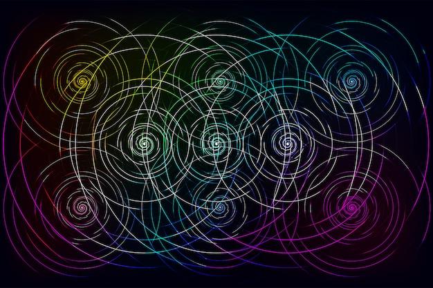 Abstrakcjonistyczne kolorowe fala linie płynie na czarnym tle