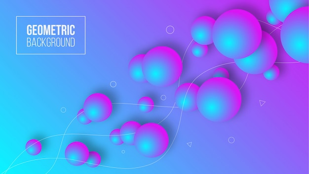 Abstrakcjonistyczne nowożytne geometryczne tła 3d ciecza piłki