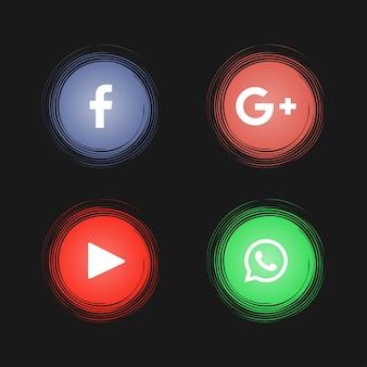 Abstrakcjonistyczne ogólnospołeczne medialne ikony na czarnym tle