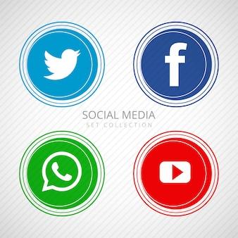 Abstrakcjonistyczne ogólnospołeczne medialne ikony ustawiająca ilustracja