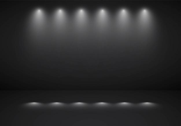 Abstrakcjonistycznego ciemnego czerni tła pracowniany pokój z sportlight