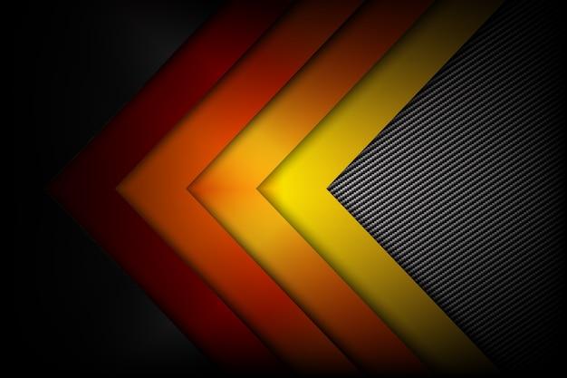 Abstrakcjonistycznego czerwonego pomarańczowego żółtego tła ciemny i czarny węglowy włókno