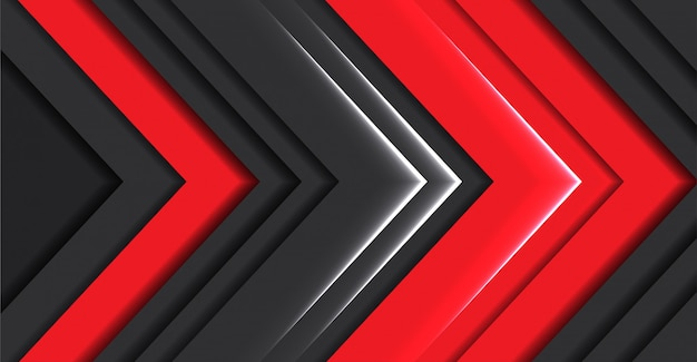 Abstrakcjonistycznego czerwonego światła strzałkowaty kierunku zmrok - szary nowożytny futurystyczny tło