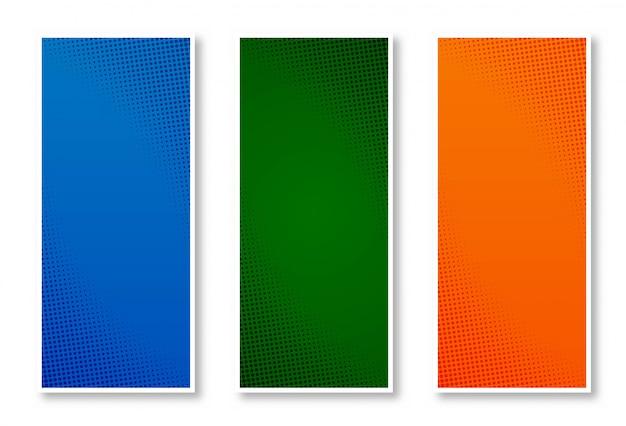 Abstrakcjonistycznego halftone kolorowy pionowo sztandaru tła set