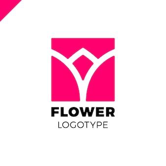 Abstrakcjonistycznego kwiatu tulipanowy logo w kwadratowej ikony wektorowym projekcie. elegancki symbol premii liniowej.
