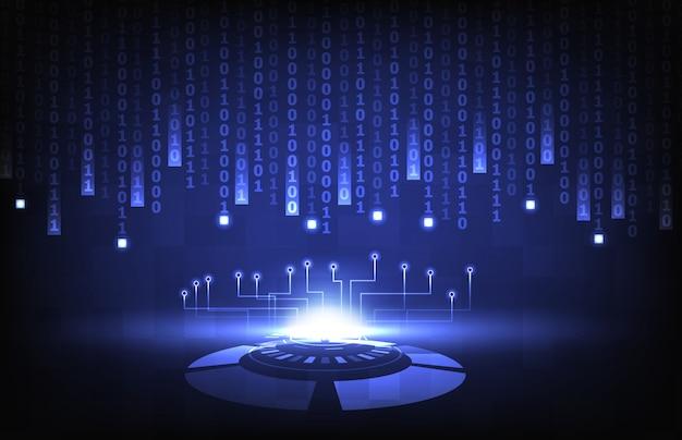Abstrakcjonistycznego tła futurystyczna technologia hud ui i liczba binarna