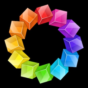 Abstrakcjonistycznego tła stubarwni dekoracyjni sześciany