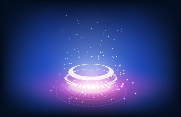 Abstrakcjonistycznego tła technologii futurystyczny guzik z cząsteczką