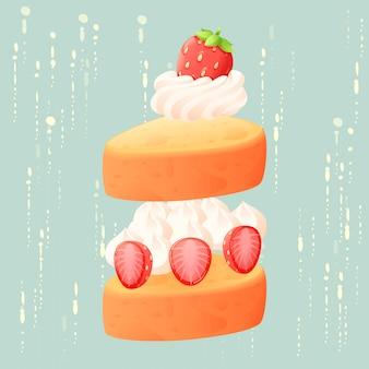 Abstrakcjonistycznego truskawka torta odosobniony wektor