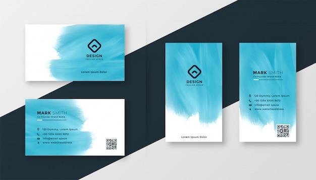 Abstrakcjonistycznej błękitnej akwareli wizytówki kreatywnie projekt