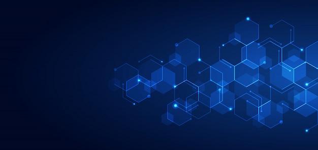 Abstrakcjonistycznej technologii błękitnych sześciokątów deseniowy ciemny tło