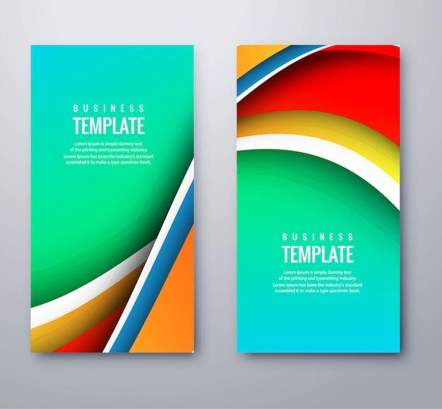 Abstrakcjonistyczni biznesowi falistego kolorowego sztandaru ustawiający szablonu projekt