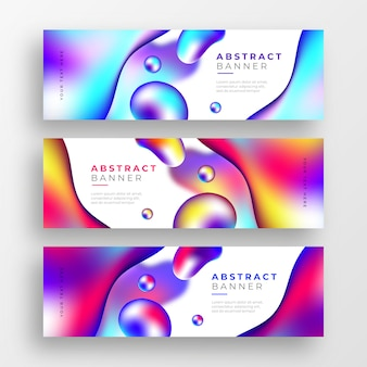 Abstrakcjonistyczni biznesowi sztandary z ciekłymi kolorowymi kształtami