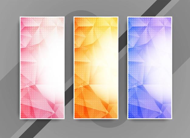 Abstrakcjonistyczni eleganccy geometryczni biznesowi sztandary ustawiający