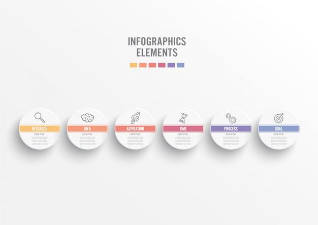Abstrakcjonistyczni elementy wykresu infographic szablon z etykietką, zintegrowani okręgi.