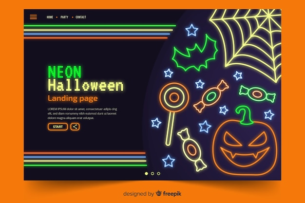 Abstrakcjonistyczni halloween elementy w neonowych światłach
