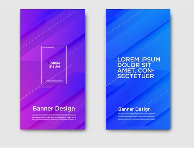 Abstrakcjonistyczni horyzontalni sztandary z gradientowym projektem