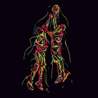 Abstrakcjonistyczni ilustracyjni gracze koszykówki