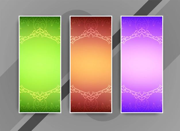 Abstrakcjonistyczni kolorowi artystyczni biznesowi sztandary ustawiający