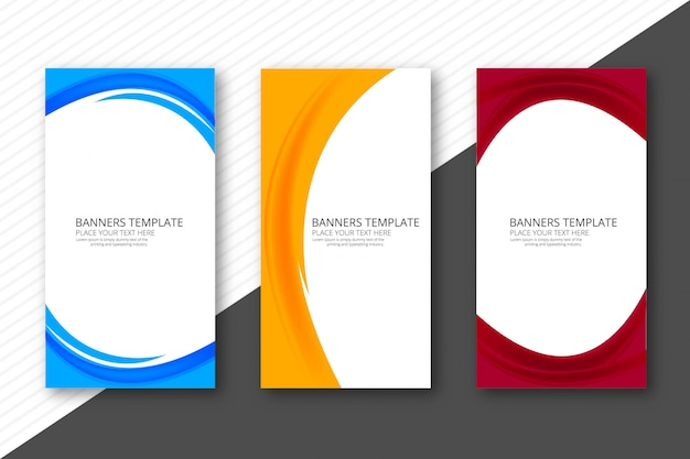 Abstrakcjonistyczni kolorowi eleganccy falowi sztandary ustawiają projekta szablon