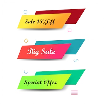 Abstrakcjonistyczni kolorowi sprzedaż sztandary ustawiający projekt