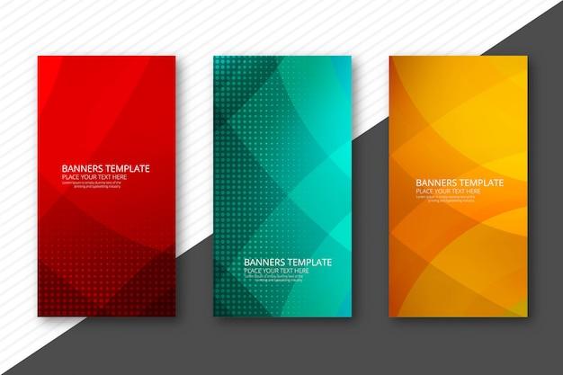 Abstrakcjonistyczni kolorowi sztandary ustawiający projekta szablonu wektor