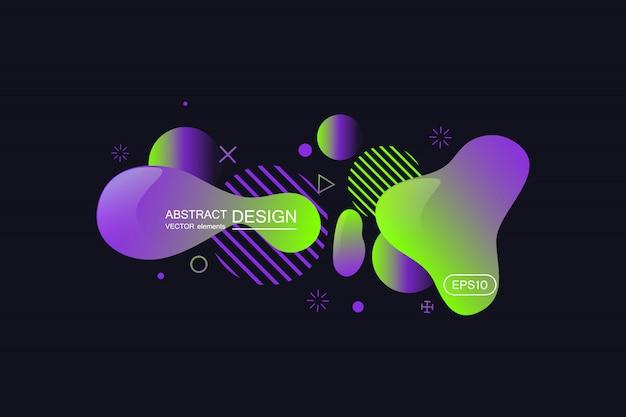 Abstrakcjonistyczni nowożytni graficzni elementy. gradientowy abstrakcjonistyczny sztandar z płynąć ciekłych kształty.