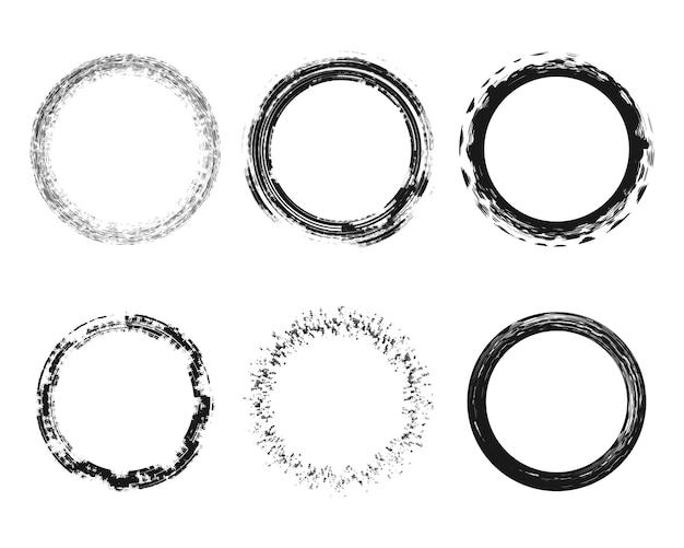 Abstrakcjonistyczni round grunge tekstury okręgi splattered brudnego skutka ustalonego element