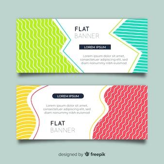Abstrakcjonistyczni sztandary z kolorowymi kształtami